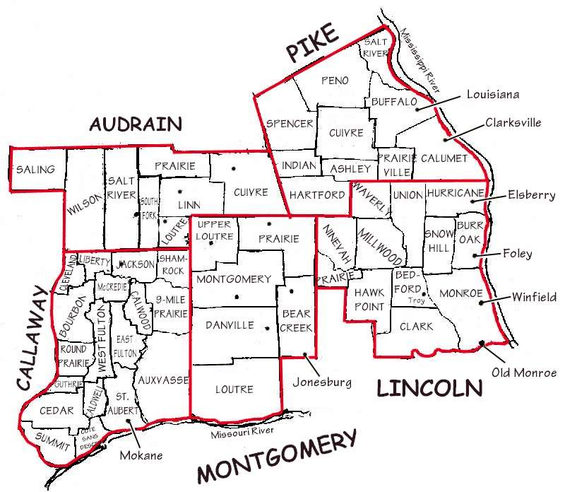 Lincoln And Surrounding Counties Map With Townships